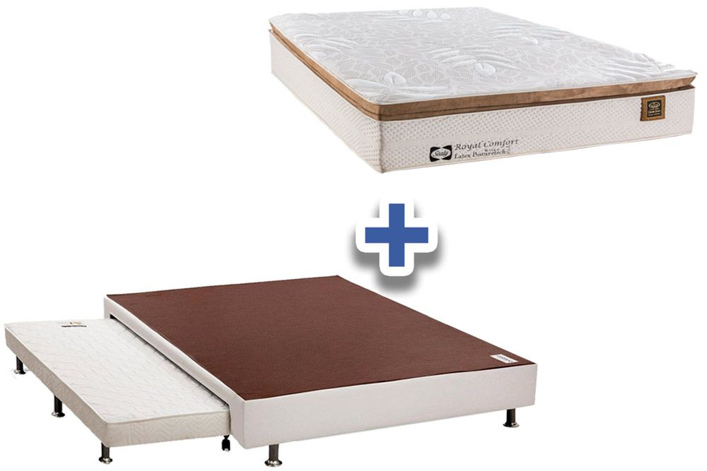 Cama Box+Auxiliar+Colchão Sealy Posturepedic Royal Comfort